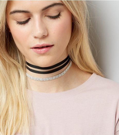 Black Diamante Ribbon Wrap Choker | New Look