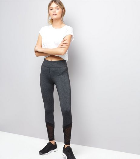 Dark Grey Mesh Hem Running Leggings | New Look