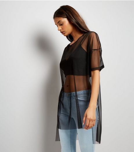 Noisy May Black Mesh Half Sleeve Longline Top | New Look