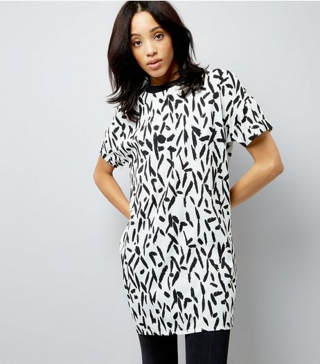 Noisy May White Splash Print Longline T-Shirt | New Look