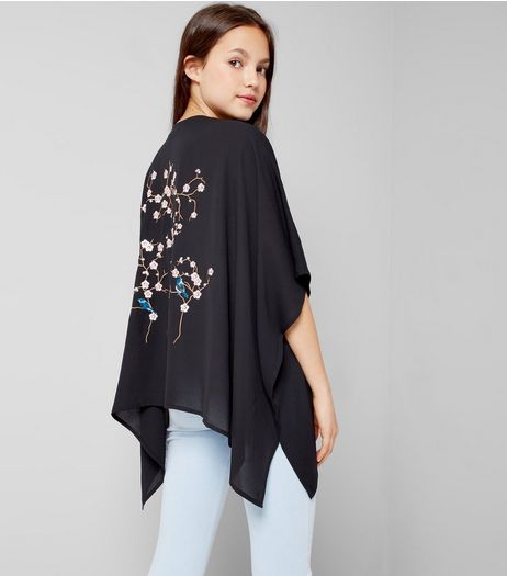 Teens Black Floral Embroidered Kimono  | New Look