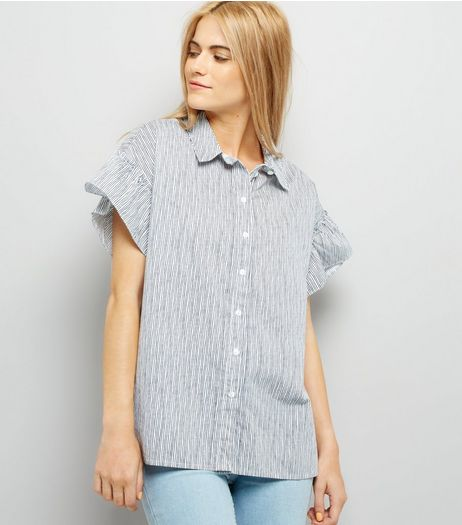 Noisy May White Stripe Frill Short Sleeve Shirt | New Look