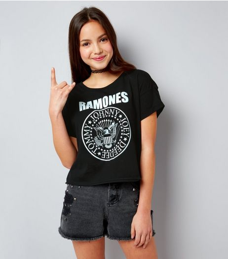 Teens Black Ramones Logo T-Shirt | New Look
