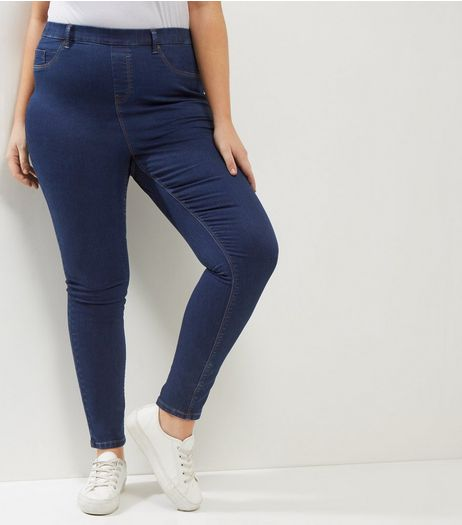 Curves Navy 5 Pocket Jeggings | New Look