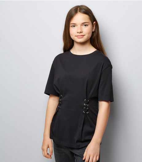 Teens Black Lace Up Oversized T-Shirt | New Look