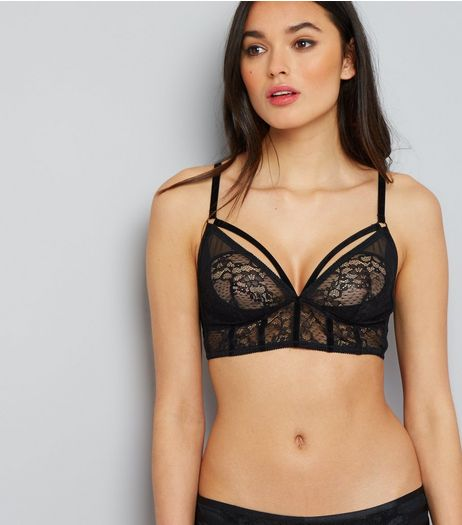 Black Strap Front Lace Bralet | New Look