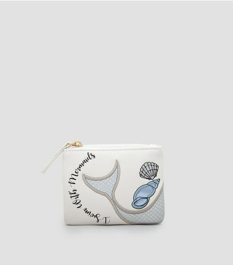 White I Swim With Mermaids Zip Top Purse | New Look