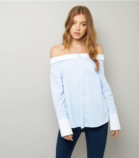 Blue Stripe Bardot Neck Shirt | New Look