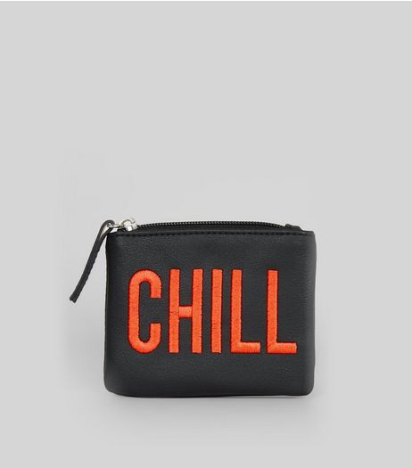 Black Chill Embroidered Zip Top Purse | New Look