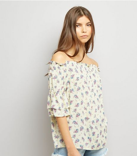 Yellow Floral Print Bardot Neck Top | New Look