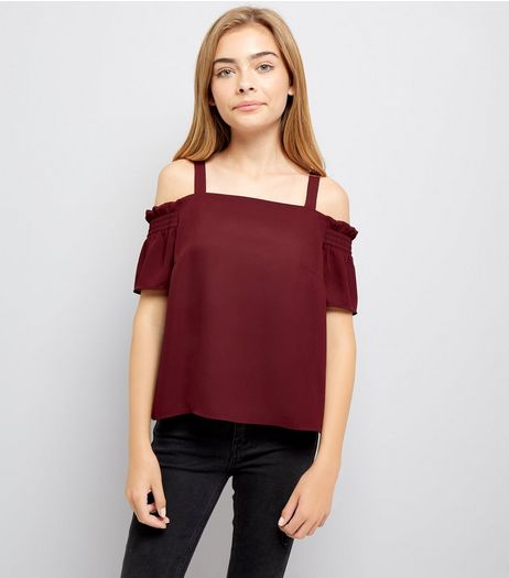 Teens Burgundy Shirred Sleeve Cold Shoulder Top | New Look