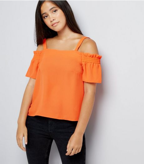 Teens Orange Shirred Sleeve Cold Shoulder Top | New Look