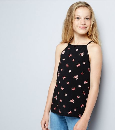 Teens Black Floral Print High Neck Cami  | New Look