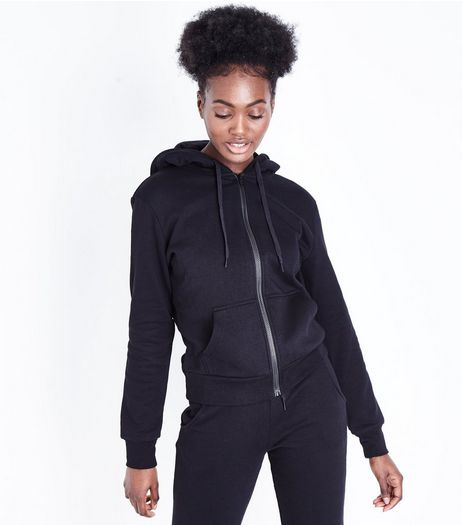 Black Zip Front Hoodie | New Look
