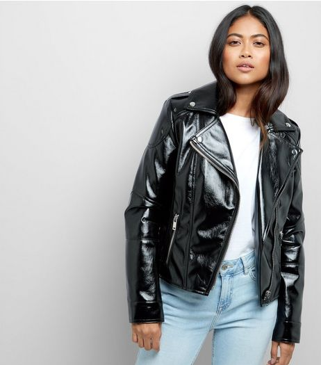 Petite Black High Shine Leather-Look Biker Jacket | New Look