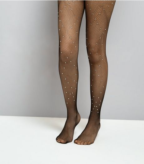 Black Diamante Fishnet Tights | New Look