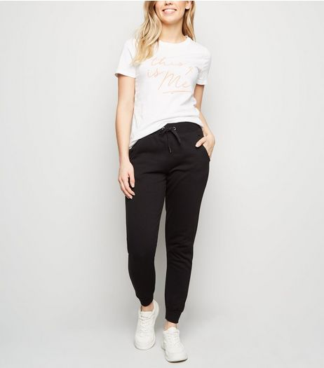 Black Slim Leg Cotton Blend Joggers | New Look