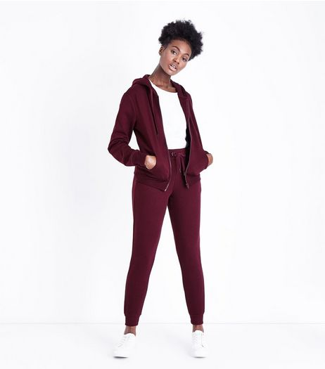 Burgundy Slim Leg Cotton Blend Joggers | New Look