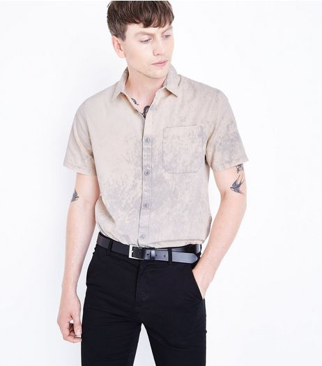 Coral Acid Wash Short Sleeve Shirt  | New Look