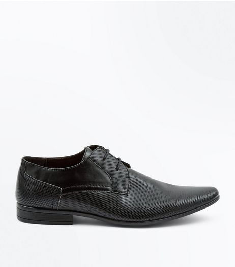 Black Perforated Texture Debry Shoes | New Look