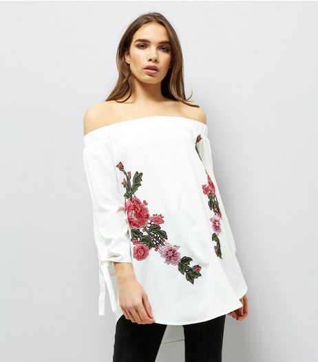 AX Paris White Floral Embroidered Bardot Neck Top | New Look