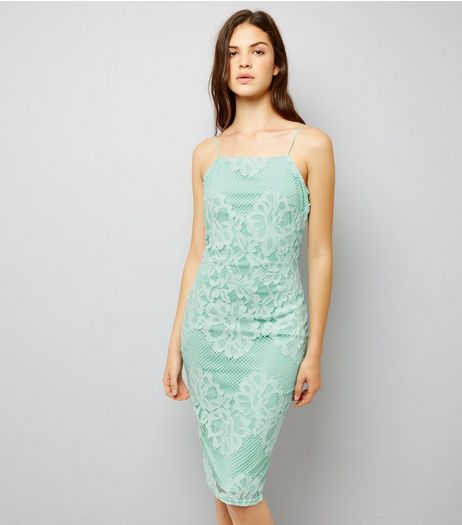 AX Paris Light Green Lace Midi Dress   | New Look