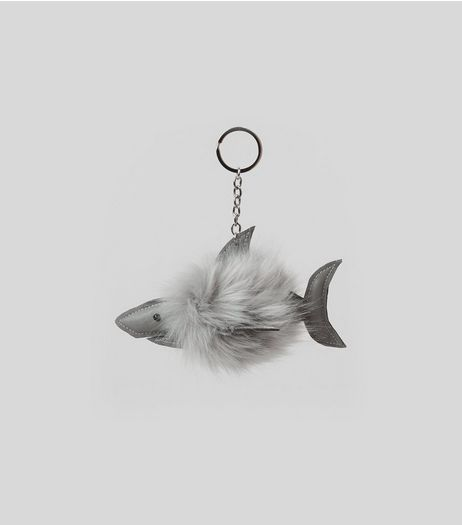 Grey Shark Faux Fur Pom Pom Keyring | New Look