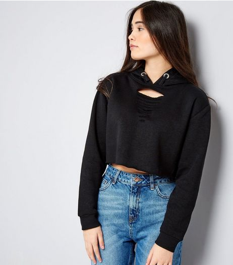 Teens Black Cut Out Front Cropped Hoodie | New Look