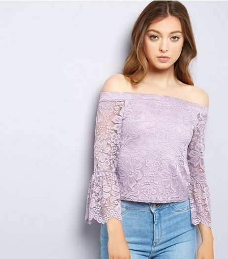 Purple Lace Bell Sleeve Bardot Top | New Look