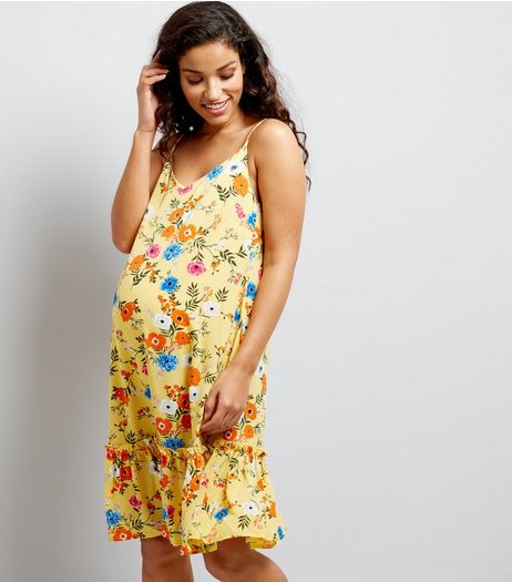 Maternity Yellow Floral Print Peplum Hem Dress | New Look