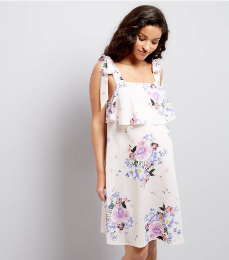 Maternity Pink Floral Print Tie Strap Dress | New Look