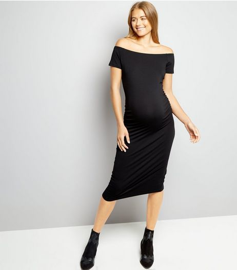 Maternity Black Bodycon Midi Dress | New Look