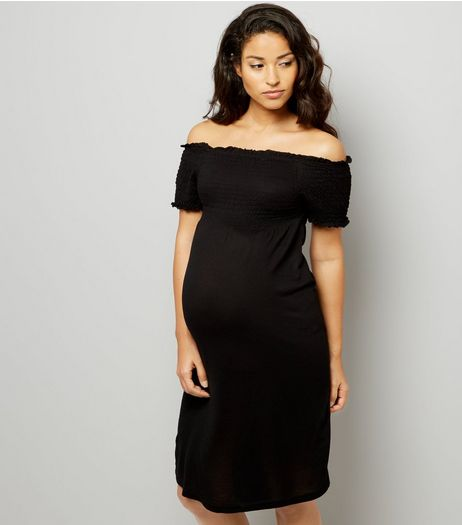 Maternity Black Shirred Bardot Neck Dress | New Look