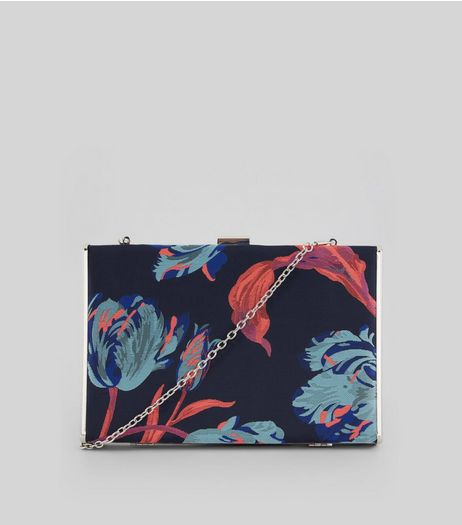 Blue Floral Box Clutch | New Look