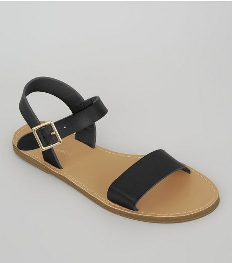 Black Buckle Strap Sandals | New Look