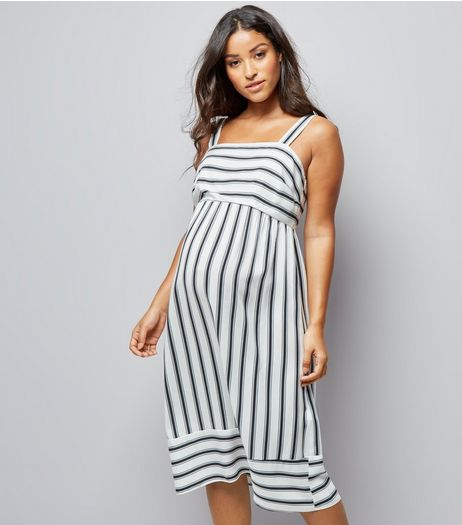Maternity White Stripe Midi Dress | New Look