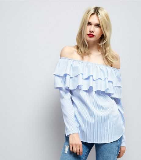 Blue Stripe Frill Trim Bardot Neck Top  | New Look