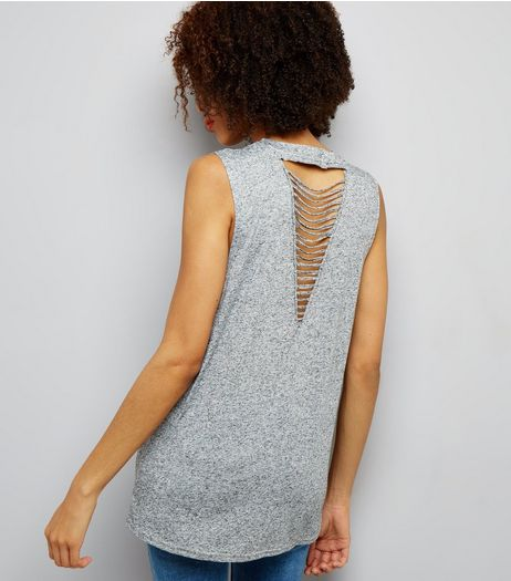 Grey Ladder Back Longline Vest | New Look