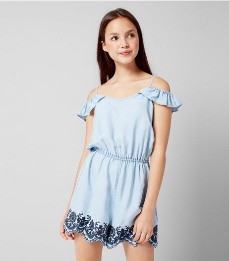 Teens Pale Blue Embroidered Denim Playsuit | New Look