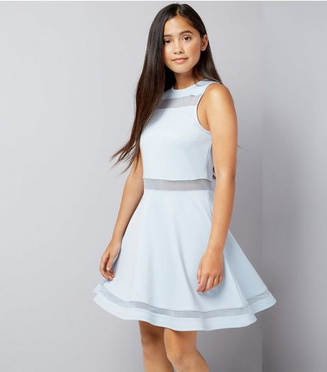 Teens Blue Mesh Insert Skater Dress | New Look