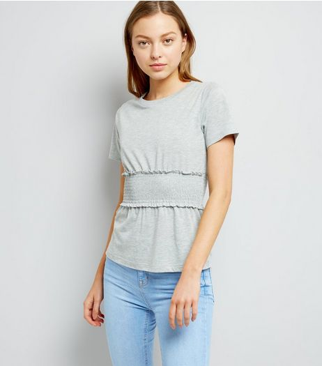 Mid Grey Shirred Waist T-Shirt  | New Look