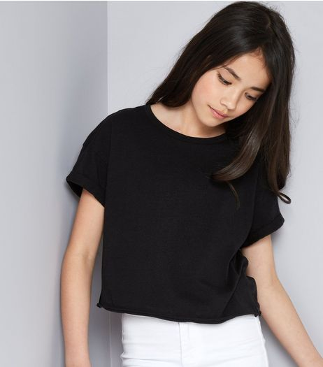 Teens Black Laddered Cut Out Back T-Shirt | New Look