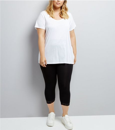 Curves Black Lace Trim 3/4 Leggings | New Look