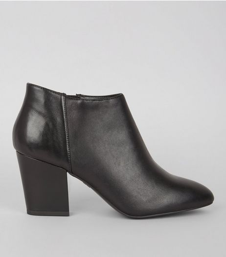 Black Leather Block Heel Shoe Boots | New Look