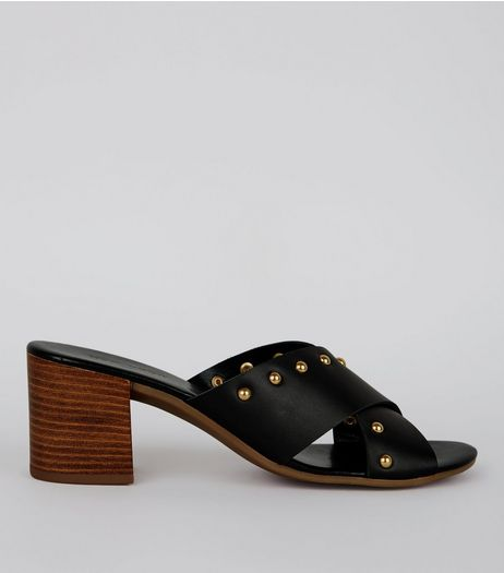 Black Cross Strap Stud Detail Mules | New Look
