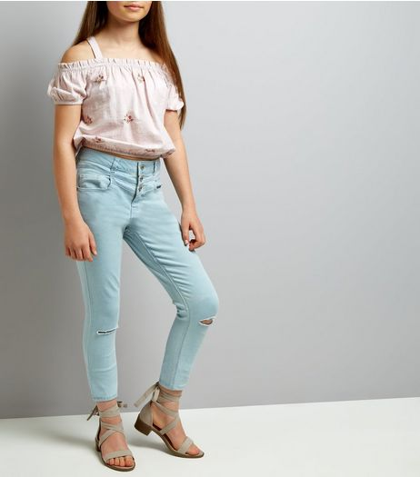 Teens Pale Blue High Waist Ripped Knee Skinny Jeans | New Look