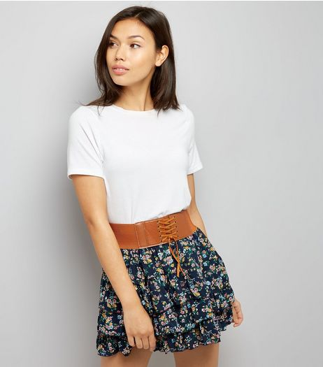 Cameo Rose Corset Belt Floral Print Layered Skirt | New Look