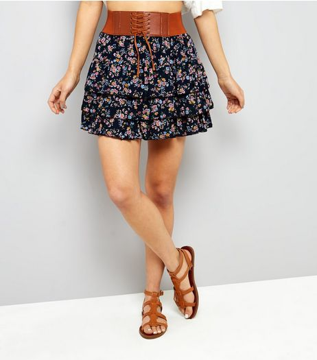 Cameo Rose Navy Ditsy Floral Print Corset Style Skirt  | New Look
