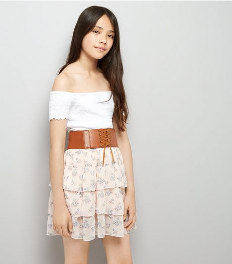 Teens Pink Floral Print Belted Tiered Skirt | New Look