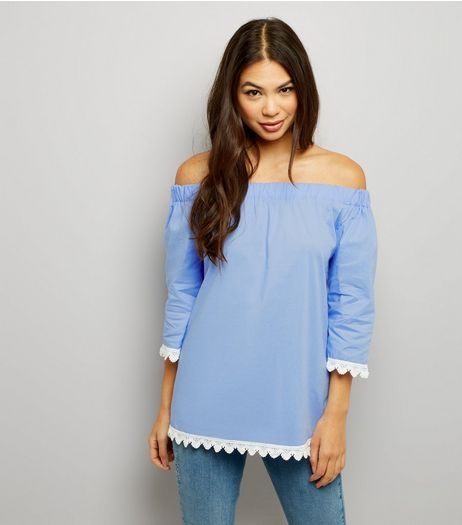 Cameo Rose Blue Crochet Lace Trim Bardot Neck Top  | New Look